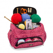 Knitting Bag Sewing Accessories And Craft Needle Storage Organiser Case in Imperial Pink