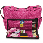 Knitting Shoulder Bag, Sewing Accessories and Craft Needle Storage Organiser Case In Imperial Pink