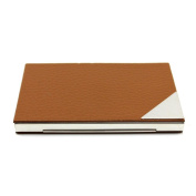 VANKER 1Pc Brown Portable Business Card Storage Credit Holder Stainless Steel Case Wallet