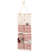 Hanging Wall Case Pocket Home Organisation Storage Bags,6 Pockets Red,