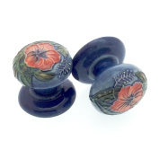 Pair of 35mm Ceramic Drawer Pulls/ Cabinet Doorknobs - Old Tupton Ware - Hibiscus Design