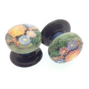 Pair of 50mm Ceramic Drawer Pulls/ Cabinet Doorknobs - Old Tupton Ware - Floral Bouquet Design