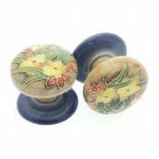 Pair of 50mm Ceramic Drawer Pulls/ Cabinet Doorknobs - Old Tupton Ware - Golden Crest Design