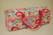 Knitting Bag - Double Fabric Handles - Josephine - Rectangular Shape - Fabric features a floral design
