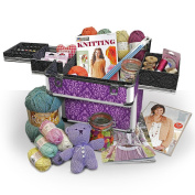 Large Sewing Box and Knitting Accessories Case Organiser, Storage Craft Box In Imperial Purple