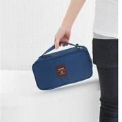 Foldable Makeup Zipper Bag Gargle Storage Hand Bag Underwear Bra Pouch Dark Blue