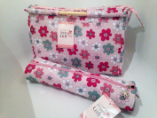 Knitting Bags Sewing Bags - Summer Floral - Wooden Handled Bag and Matching Cylindrical Roll