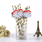 HLHN 10PCS Christmas Colour Drink Paper Straws Decorative Drinking Birthday Party Theme Festivals