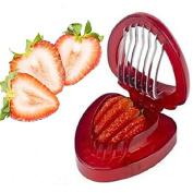 Jooks Kitchen Mini Strawberry Slicer Cutter Strawberry Huller Cutter Gadgets Kitchen Tool Stem Remover Strawberry Slicer Corer Red