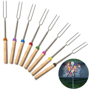 ZHJZ 8Pcs Stainless Steel Tube Telescopic Colourful Wooden Handle Barbecue Fork