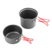Camping Cookware,2pcs Outdoor Camping Non-stick Pots Portable Hiking Picnic Pans Cookware