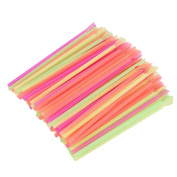 Gaddrt 100 Pcs Colourful Drinking Straws Spoon Type Drinking Straws Plastic Drinking Straws