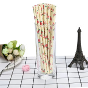 HLHN Rose Printing Drink Paper Straws Decorative Drinking Birthday Party Theme Festivals 25PCS