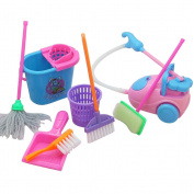 TOYMYTOY 9pcs Children's Cleaning Toy Mini Floor Broom Mop Dust Collector Toy Playset for Barbie Doll House Cleaning