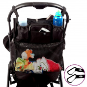 BTR Slimline Pram Buggy Organiser Storage with Shopping Net. Universal Fit & Water Resistant PLUS 2 FREE x Buggy Clips. A Must Have Pram & Buggy Accessory