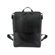 DUDU Womens Mens Backpack in soft Leather Casual Fashion Travel Bag with Zipper and Flap Black