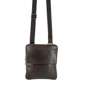 Nuvola Pelle Messenger Shoulder Cross Body Bag in soft Nappa Leather with Zipper for Travel Work Business Dark Brown
