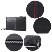 Real Leather Clutch Bags for Men Business Chequebook Handbag Credit Card Holder Ipad Large Zip Wristlet Purse Black