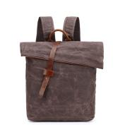 Casual Shoulder Bag Waterproof Canvas Backpack,Coffee