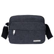 Men's Fashion Canvas Shoulder Business Messenger Pack Casual Bag,Black