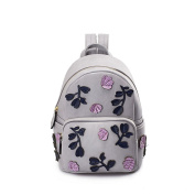 Women's Ladies Girls Backpack Knitted Printed Shoulder Bag Female Korean Version 2017 Spring And Summer New Leisure Travel College Wind Female Backpack,Colour:Grey,Size:21*14*31Cm