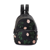 Women's Ladies Girls Backpack Knitted Printed Shoulder Bag Female Korean Version 2017 Spring And Summer New Leisure Travel College Wind Female Backpack,Colour:Black,Size:21*14*31Cm