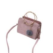 Espeedy Women Handbags Plush Small Ball Pendant Leather Solid Colour Circular Ring Handle Ladies Shoulder Bag Girl Messenger Bags