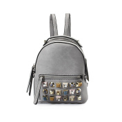 Women's Ladies Girls Backpack Colour Rivets Pu Shoulder Bag Female Korean Version 2017 New Fashion Small Backpack Women Leisure Travel Bag Tide,Size:20*13*26Cm