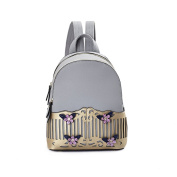 Women's Ladies Girls Backpack Mini Shoulder Bag Female 2017 Summer New Pu Korean Version Of The Wave Of Women Fashion Casual Small Backpack,Colour:Grey,Size:21*12*26Cm