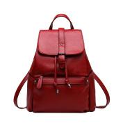 Women Black Leather Backpack For Girls Drawstring Schoolbag