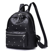 Mefly Simple Fashion Ladies Backpack Pu Leather Rivet Backpack
