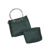 HCFKJ 2Pcs Women fashion Chain Shoulder Metal Round Ring Handle Tote Bag + Ladies Purses Wallet