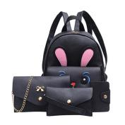 HCFKJ 4Pcs Women's Cute Rabbit Printing Backpack+Crossbody Bags+Handbag+Card Holder