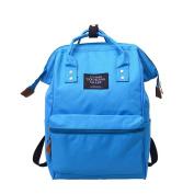 HCFKJ Women Men Solid Backpack School Travel Bag Double Shoulder Top Handle Tote Zipper Bag