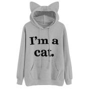 """Women's Hoodies,Kingwo Ladies Autumn Hoody Womens Cat Long Sleeve Hoodie Sweatshirt Hooded Pullover Tops Blouse """"I'm a cat """""""