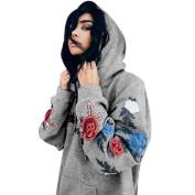 Women's Hoodies,Kingwo Ladies Autumn Hoody Hoodie Sweatshirt Appliques Loose Floral Hooded Pullover Tops Blouse