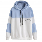 Women's Hoodies, Kingwo Ladies Autumn Casual Long Sleeve Patchwork Button Cowl Neck Slim Tunic Tops With Pockets White And Blue