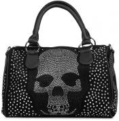 styleBREAKER Bowling Bag Handbag with Rhinestone Skull and appliqué, rhinestone studded handbag, women's 02012023