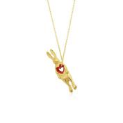 MOMOCREATURA Women's Oxidised Sterling Silver Stolen Heart Rabbit Necklace of Length 60cm