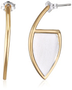 Fiorelli Silver Yellow Gold and Brushed Silver Marquise Earrings