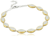 Fiorelli Silver Yellow Gold and Brushed Silver Marquise Bracelet