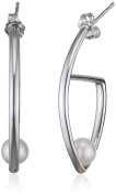 Fiorelli Silver Pearl Marquise Hoop Earrings