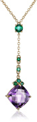 Fiorelli Gold Yellow Gold Amethyst and Emerald Necklace of Length 46cm