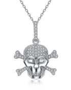 P.D.Man Silver Colour Rhodium Plated Skull Pendant