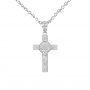 925 Sterling Silver St. Benedict Crucifix Pendant Necklace (2.8cm )