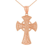 Solid 14 ct Rose Gold Celtic Knot Halo Cross Woven Hearts Pendant Necklace