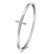 """""""Faith in Hope"""" Sideways Cross Cuff Bangle Bracelet with Crystals Birthday Gifts for Girls"""