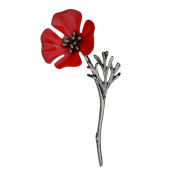 Pu Ran Women Men Vintage Poppy Flower Brooch Pin Collar Scarf Accessory Jewellery