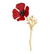 Pu Ran Women Men Vintage Poppy Flower Brooch Pin Collar Scarf Accessory Jewellery
