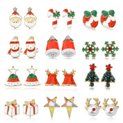 Women Christmas Earring Stud - 12 Pairs Hypoallergenic Christmas Gifts for Teens Girls Kids Cute Festive Earrings Jewellery Set Party Present Gold-tone